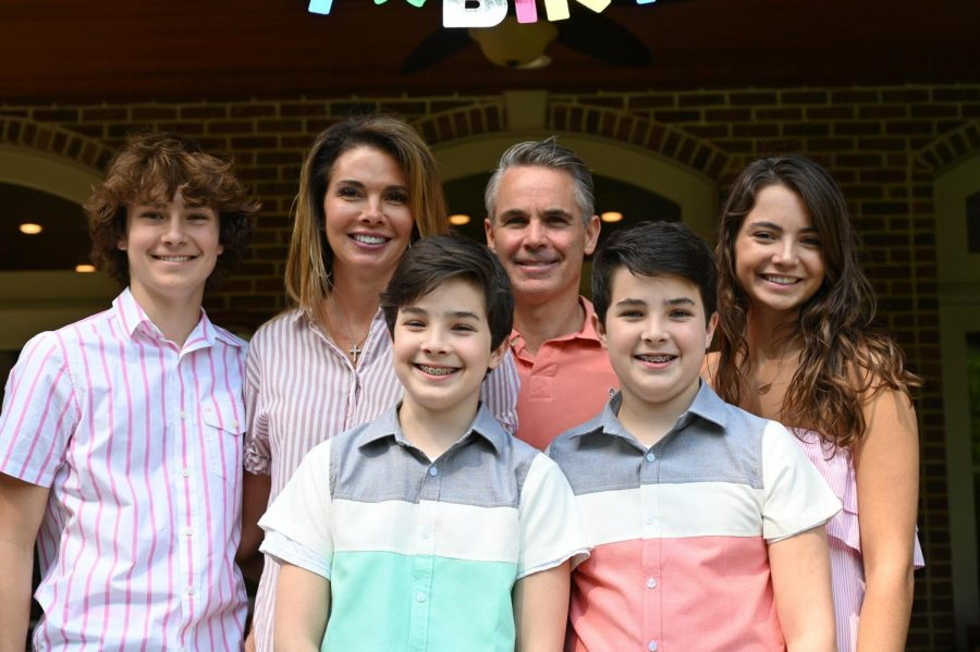 Dominick and his family coming together to celebrate their oldest child, Bella's, 17th birthday. Family members from left top to right bottom are Joe, Rachel, Dominick, Bella, Luca, and Dominick Jr.