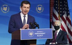 Former South Bend, Indiana Mayor Pete Buttigieg speaks in Wilmington, Delaware on December 16th after being nominated to serve as Transportation Secretary. Photo: Kevin Lamarque/AP