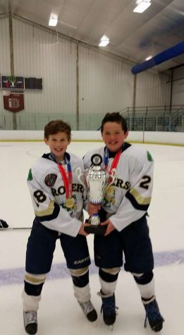 Stephen (on left) and his cousin Charlie in youth hockey