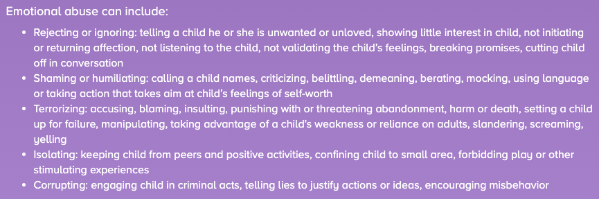 Some broad examples of emotional abuse.