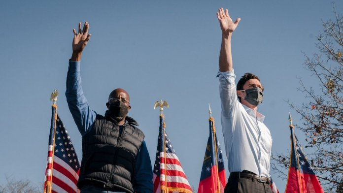 Senators Raphael Warnock and Jon Ossoff. (Photo: Ossoff campaign)