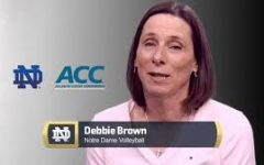 Notre Dame volleyball head coach Debbie Brown reacts to Notre Dame's acceptance of an invitation to join the Atlantic Coast Conference.