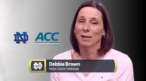 Notre Dame volleyball head coach Debbie Brown reacts to Notre Dame