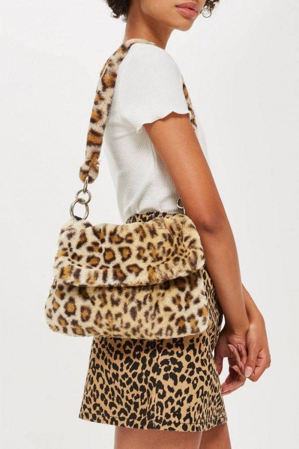 Leopard faux fur bag
