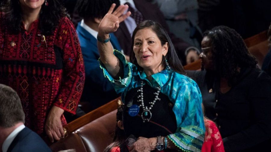 Haaland wearing her traditional clothing on her first day in congress
