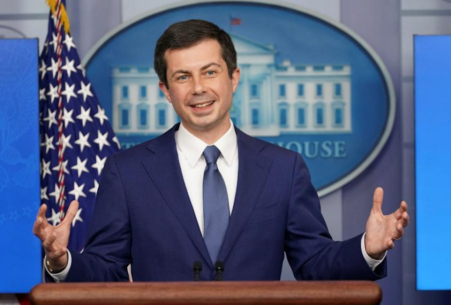 Transportation+Secretary+Pete+Buttigieg+speaks+at+a+White+House+Press+Briefing+in+the+Brady+Briefing+Room+on+Friday%2C+April+9.
