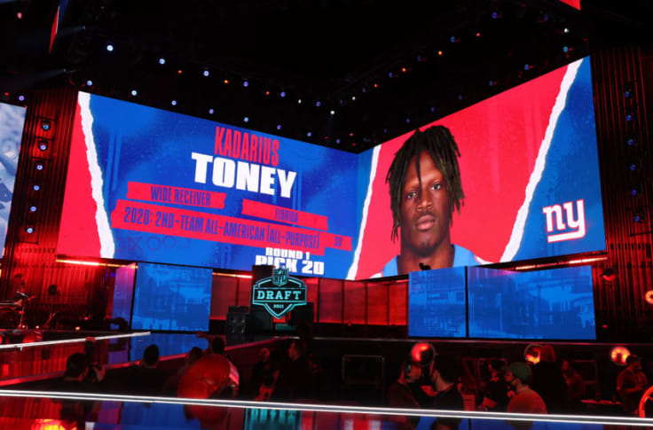 The New York Giants selected Florida Wide Receiver Kadarius Toney with the 20th pick in the 2021 NFL Draft.